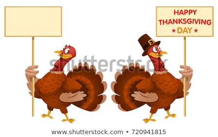 happy pilgrim turkey bird cartoon mascot character holding a blank sign stock photo © hittoon