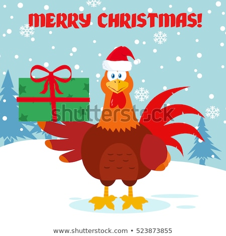Cute Red Rooster Bird Cartoon Mascot Character With Santa Hat Holding Gifts Stock photo © hittoon