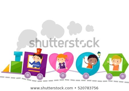 stickman kids train shapes stock photo © lenm
