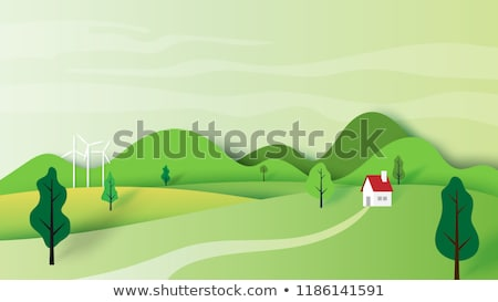 Cartoon paper mountain. Landscape illustration. stock photo © rwgusev