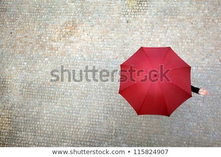 mulher · jovem · escondido · guarda-chuva · em · pé · azul · mulher - foto stock © CsDeli