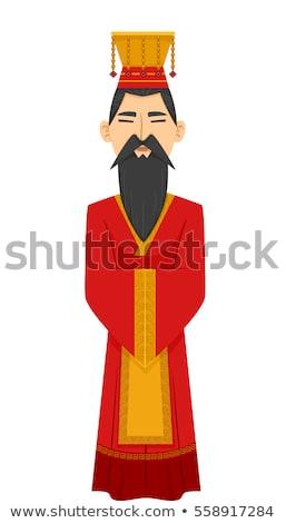 Férfi kínai császár jelmez illusztráció visel Stock fotó © lenm