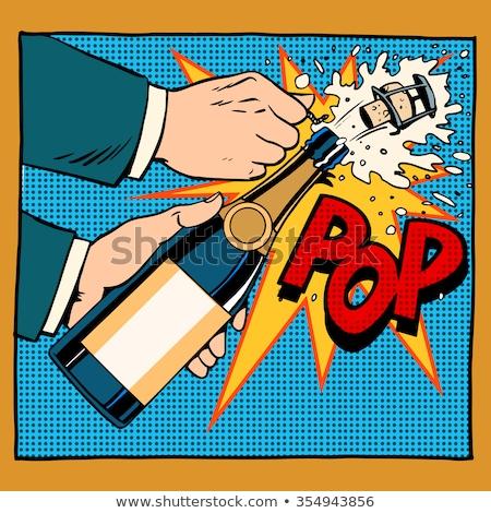 Happy birthday. Champagne bottle opens, foam and cork Stock photo © rogistok