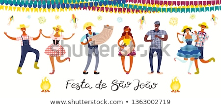 Festa Junina Illustration with Party Flags and Paper Lantern on White Background. Vector Brazil June Stock photo © articular