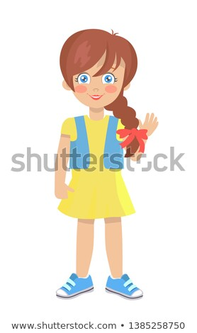 Brunette Doll Like Girl with Thick Braid in Dress Stock photo © robuart