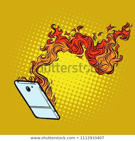Alevler imha teknoloji komik karikatür Stok fotoğraf © rogistok