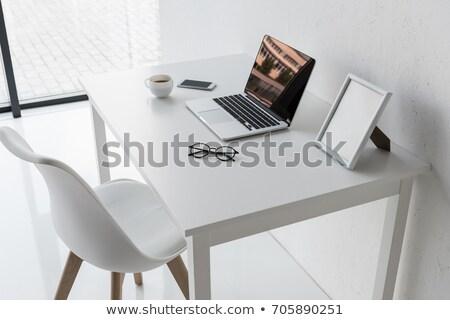 Foto stock: Oficina · lugar · de · trabajo · mesa · portátil