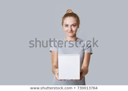 blond hair woman white text box stock photo © toyotoyo
