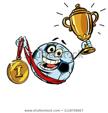 winner first place gold medal character soccer ball football stock photo © rogistok