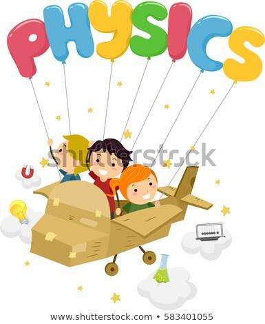 Stickman Kids Physics Plane Elements Stock photo © lenm