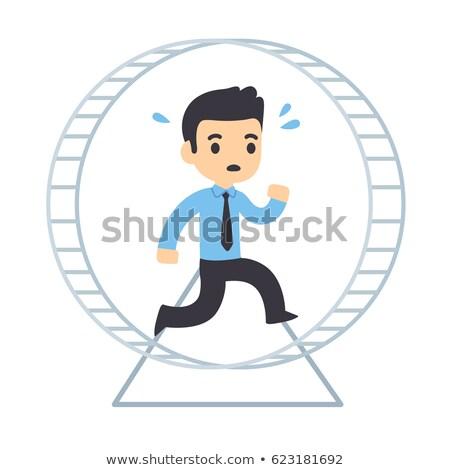 Cartoon hámster ejecutando carrera feliz ejercicio Foto stock © cthoman