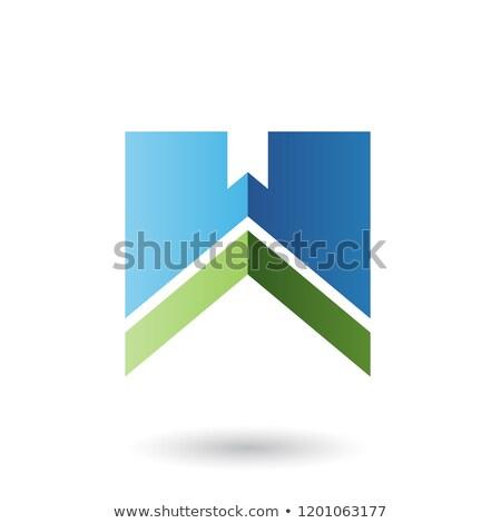 Azul verde letra w tira vetor ilustração Foto stock © cidepix