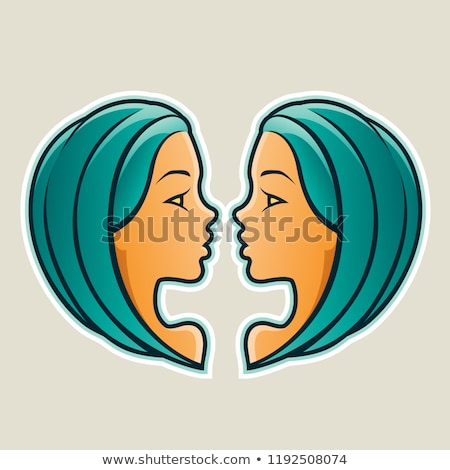 Persian Green Gemini or Twins Icon Vector Illustration Stock photo © cidepix