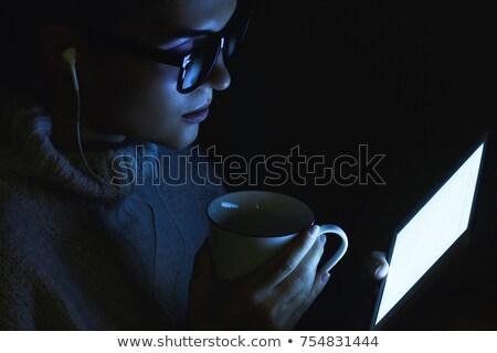 gülen · genç · kadın · ev · gece · kadın - stok fotoğraf © dolgachov