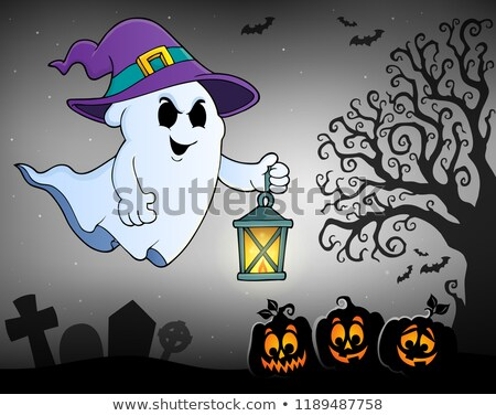 Ghost with hat and lantern topic 2 Stock photo © clairev