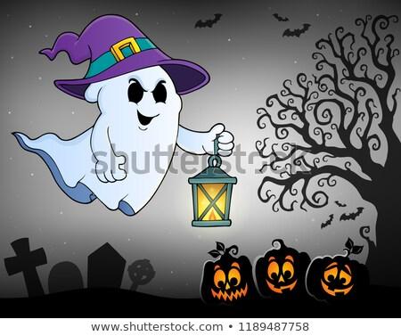 halloween · silhueta · céu · casa · árvore · olhos - foto stock © clairev