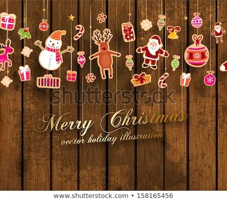 Karácsony ajándék doboz hóember játék fenyőfa ág Stock fotó © karandaev