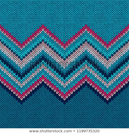 seamless knitted pattern blue white red beige color knitwear background stock photo © essl