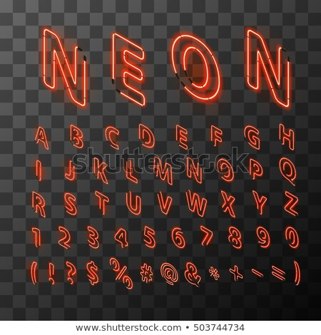 Bright neon red letters in isometric view Stock photo © Evgeny89