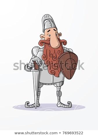 Cartoon krijger illustratie naar mannen soldaat Stockfoto © cthoman