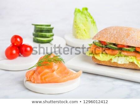 свежие здорового лосося сэндвич салата огурца Сток-фото © DenisMArt