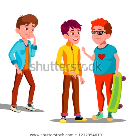 Stock photo: Sad Boy Alone Among A Friends Teenagers Vector. Isolated Illustration