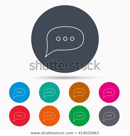 Comment Round Button Linear Icon with Chat Cloud Stock photo © robuart