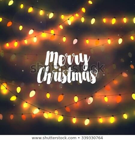 neşeli · Noel · ışıklar · mutlu · altın · hediye - stok fotoğraf © articular