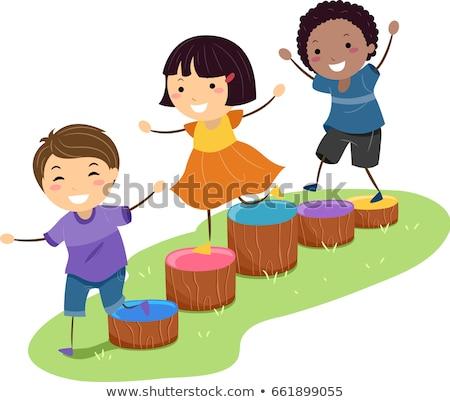 дети препятствие древесины блоки иллюстрация детей, играющих Сток-фото © lenm