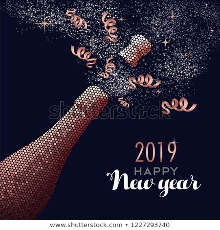 Feliz ano novo champanhe cobre cartão luxo garrafa Foto stock © cienpies