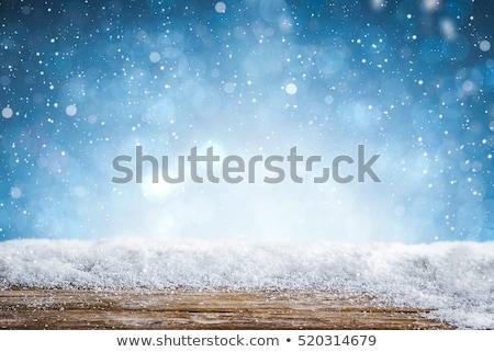Natal queda de neve azul madeira quadro inverno Foto stock © romvo