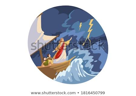 Foto stock: Assustado · desenho · animado · marinheiro · ilustração · olhando · homens