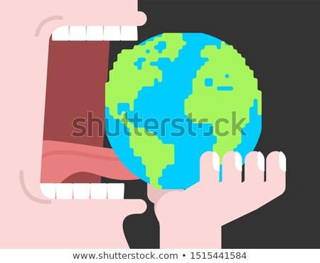 еды земле планеты открытых рот зубов Сток-фото © MaryValery