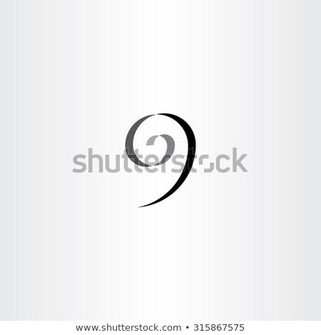 stylized number 9 nine black spiral icon Stock photo © blaskorizov