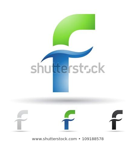 Stock photo: Green Glossy Geometrical Letter F Vector Illustration