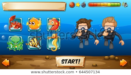 Game template with divers and fish Stock photo © colematt