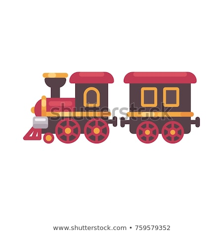 Stock photo: Toy train flat illustration. Christmas present icon