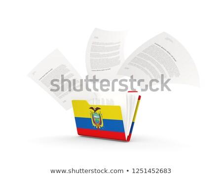 Map vlag Ecuador bestanden geïsoleerd witte Stockfoto © MikhailMishchenko