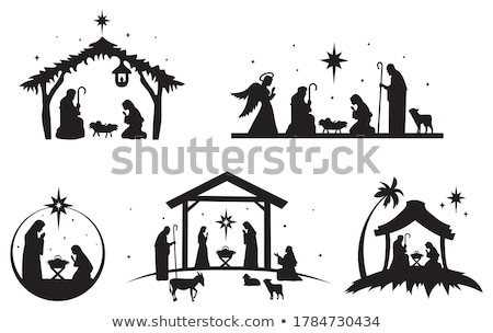familia · Christian · silueta · icono · negro - foto stock © olena