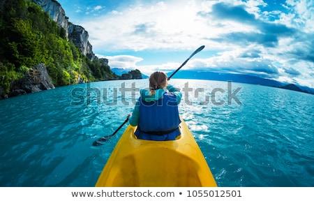Nő kajak tenger víz élvezi nyár Stock fotó © Kzenon
