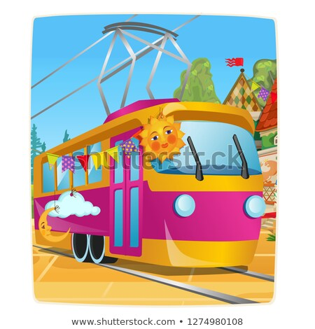 Poster with festively decorated tram car. Vector cartoon close-up illustration. Stock photo © Lady-Luck