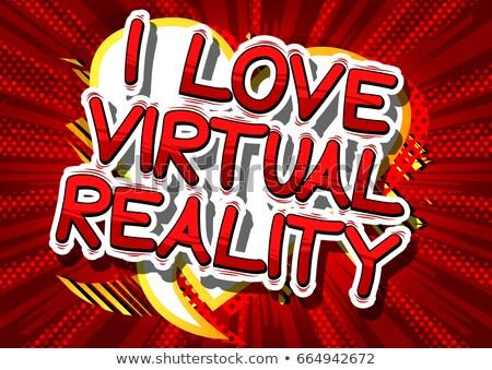Virtual realidade publicidade cartão desenho animado vetor Foto stock © robuart