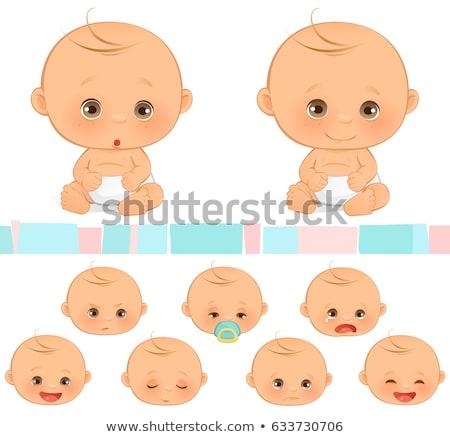 Karikatür bebek erkek deli örnek bakıyor Stok fotoğraf © cthoman