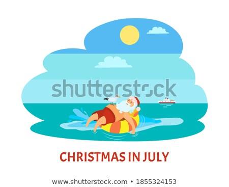Vrolijk christmas kerstman reddingsboei zeemeeuw vogel Stockfoto © robuart