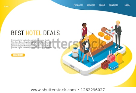 Flat isometric vector landing page template of booking hotel online. Stock photo © TarikVision