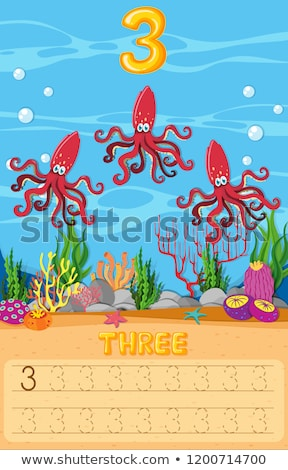 Three octopus underwater worksheet Stock photo © colematt