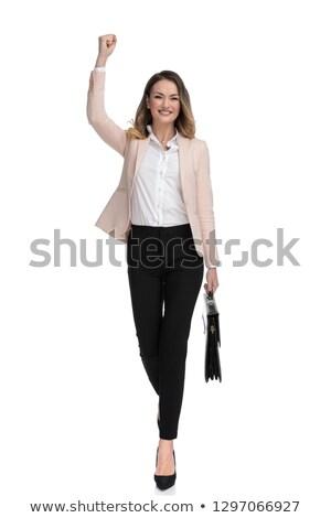 счастливым деловая женщина портфель ходьбе вперед белый Сток-фото © feedough