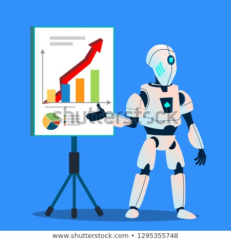 robot preparing analytic and financial graphics vector isolated illustration stock photo © pikepicture