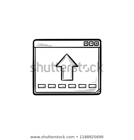 Browser window with arrow up hand drawn outline doodle icon. Stock photo © RAStudio
