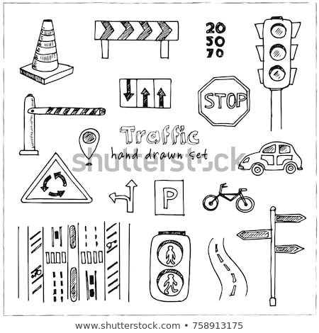 Stok fotoğraf: Traffic Light Hand Drawn Outline Doodle Icon